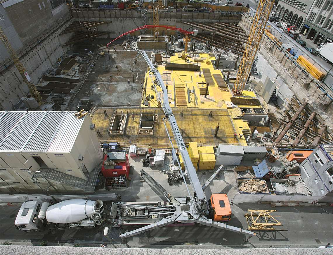 Putzmeister's concrete pumping and placing equipment is used in tight construction sites, such as th